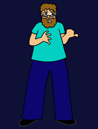 A large man with reddish-brown hair and a beard glances apprehensively to his left. He is gritting his teeth and gesturing left with his thumb. He has grey eyes, fair skin, and glasses, and he's wearing an aquamarine T-shirt and dark blue pants.